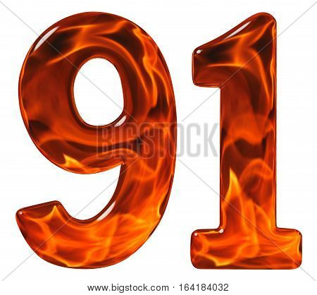 91, Ninety One, Numeral, Imitation Glass And A Blazing Fire, Isolated On White Background