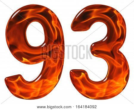 93, Ninety Three, Ninety, Numeral, Imitation Glass And A Blazing Fire, Isolated On White Background