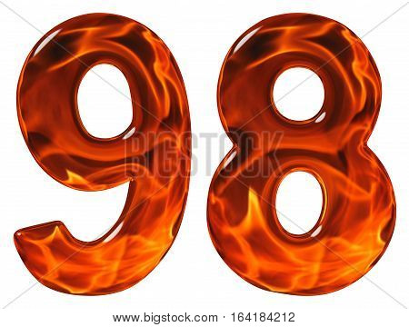 98, Ninety Eight, Numeral, Imitation Glass And A Blazing Fire, Isolated On White Background