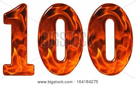 100, One Hundred, Numeral, Imitation Glass And A Blazing Fire, Isolated On White Background