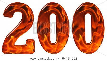 200, Two Hundred, Numeral, Imitation Glass And A Blazing Fire, Isolated On White Background