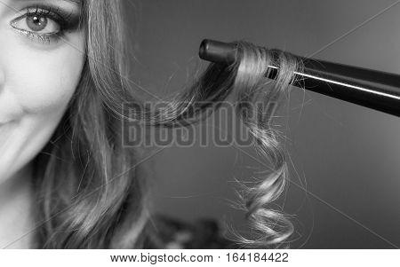 Closeup Of Brown Hair On Curler