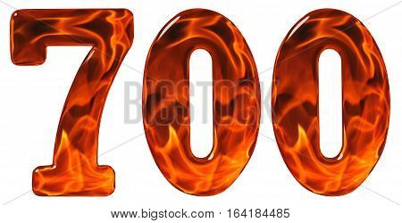 700, Seven Hundred, Numeral, Imitation Glass And A Blazing Fire, Isolated On White Background