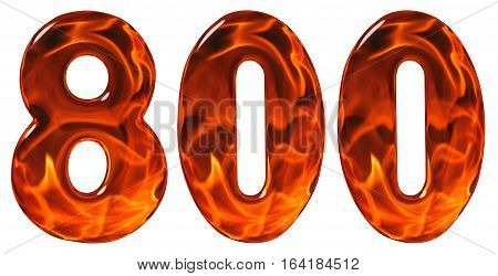 800, Eight Hundred, Numeral, Imitation Glass And A Blazing Fire, Isolated On White Background