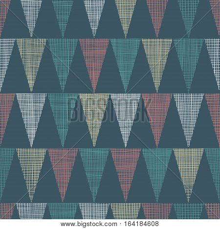 Vector Vintage Dark Grey Bunting Flags Triangles Seamless Pattern Background With fabric Texture. Perfect for nursery, birthday, circus or fair themed designs. Surface pattern design.