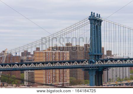 part of Manhattan bridge seen from Brooklyn bridge