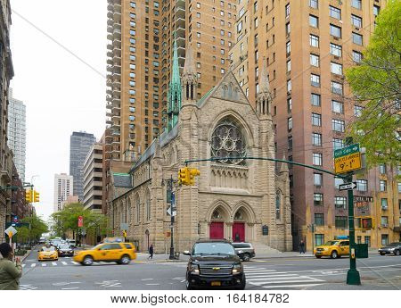 NEW YORK - APRIL 28 2016: Exterior of the Holy Trinity Lutheran church at central park west. It is a member of the Evangelical Lutheran Church in America.