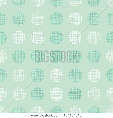Vector Vintage Mint Green Dots Circles Seamless Pattern Background With Fabric Texture. Perfect for neutral nursery, birthday, circus or fair themed designs. Surface pattern design.