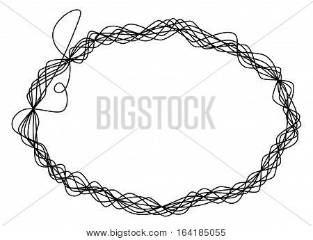 Single thread frame. One single line is eight times wrapped around and shaping an ellipse like a wire sculpture. Black illustration on white background. Vector.