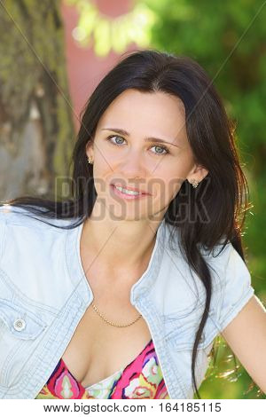 Beautiful girl of Slavic appearance in the Park