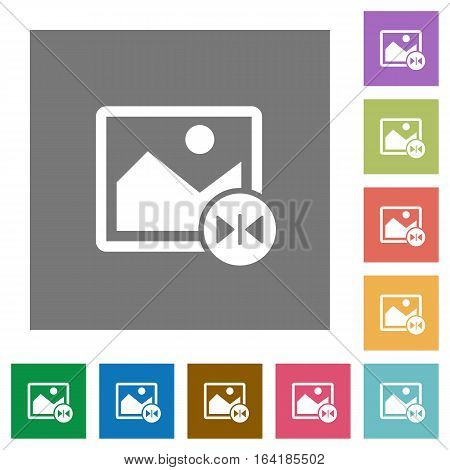 Horizontal flip image flat icons on simple color square backgrounds