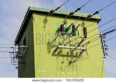 Old transformer built into a special green building.