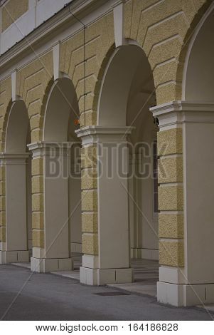 VIENNA, AUSTRIA - JANUARY 2 2016: Architectural detail of the colonnade of Schonbrunn palace in Vienna Austria