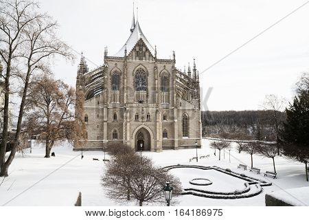 Saint Barbara cathedral in bohemian town Kutna Hora snow winter