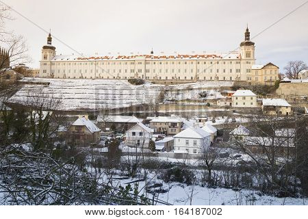 Former Jesuit College in bohemian town Kutna Hora snow winter
