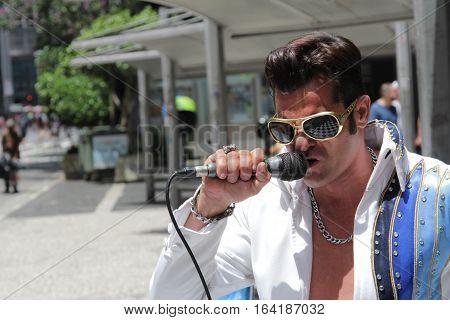 Street Artist Singer Performing Elvis Presley On Street