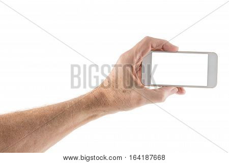 Image of male left hand holding smartphone with screen isolated ready for insertion of your application or screenshot against white background