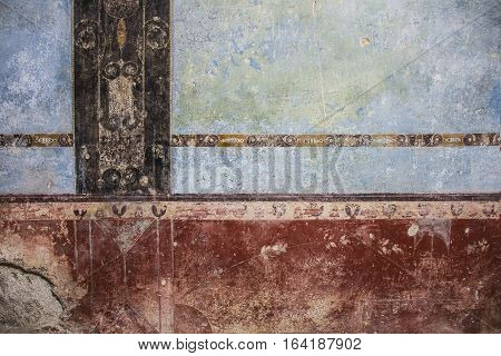 painted textures from Color Walls of Ancient Pompeii Ruins of ancient city Pompeii, destroyed by volcanic eruption of Vesuvio mountain, Italy