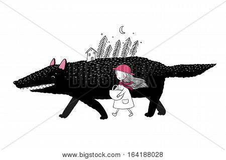 Little Red Riding Hood fairy tale. Little cute girl and big wolf. Fir forest and a small house. Hand drawing isolated objects on white background. Vector illustration.