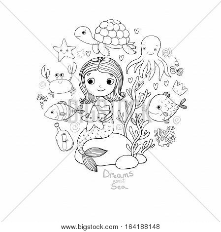 Marine illustrations set. Little cute cartoon mermaid, funny fish, starfish, bottle with a note, algae, various shells and crab. Sea theme. isolated objects on white background. Vector.