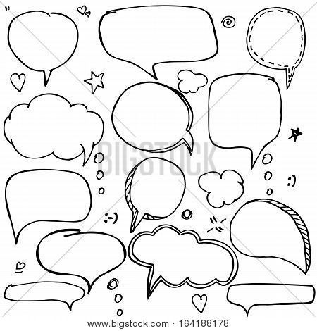 Set of hand drawn think and talk speech bubbles with love message, greetings and sale ad. Doodle style comic balloon, cloud, heart shape design elements. Isolated vector.