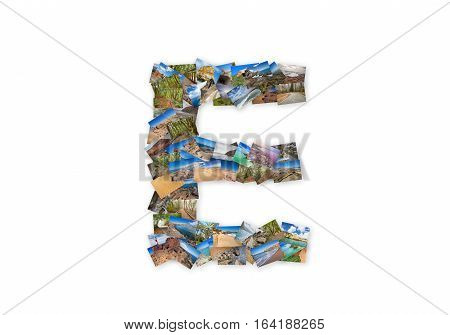 Letter E uppercase font shape alphabet collage made of my best landscape photographs. Version 3.
