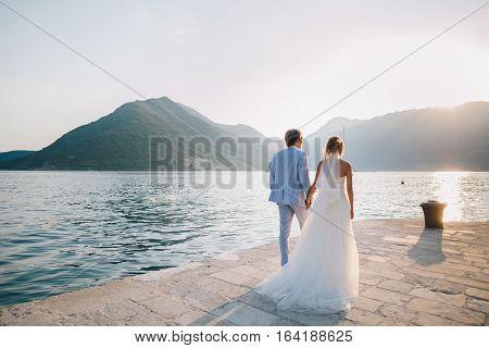 Honeymoon Wedding Couple Travel Sea Side Back View