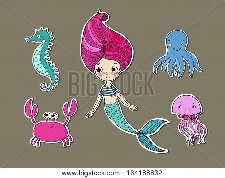 Marine illustrations set. Cute cartoon mermaid, funny crab, jellyfish, octopus and sea horse.