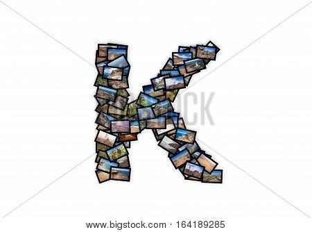 Letter K uppercase font shape alphabet collage made of my best landscape photographs. Version 2.
