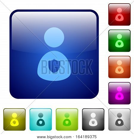 Security guard icons in rounded square color glossy button set