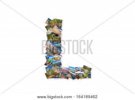 Letter L uppercase font shape alphabet collage made of my best landscape photographs. Version 3.