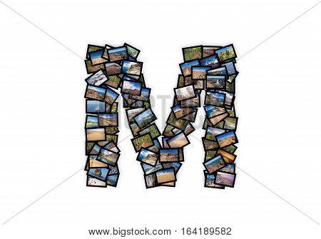 Letter M uppercase font shape alphabet collage made of my best landscape photographs. Version 2.
