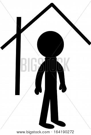 Logo living.Human person and house on a white background