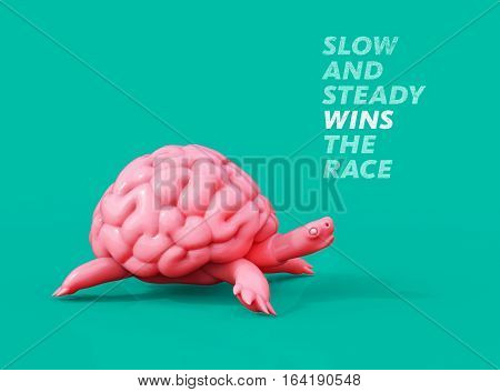 Slow And Steady Wins The Race. Turtle Brain 3D Illustration