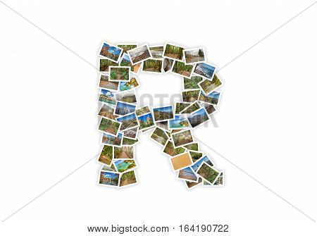 Letter R uppercase font shape alphabet collage made of my best landscape photographs. Version 1.