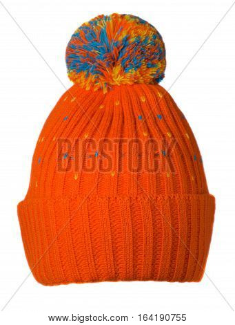 Knitted Hat Isolated On White Background .hat With Pompon .   Ginger  Hat .
