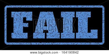 Blue rubber seal stamp with Fail text. Vector caption inside rounded rectangular shape. Grunge design and dirty texture for watermark labels. Horisontal sticker on a black background.