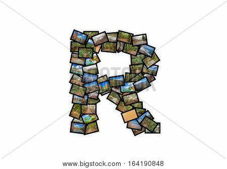 Letter R uppercase font shape alphabet collage made of my best landscape photographs. Version 2.