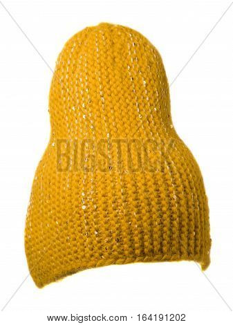 Women's Hat . Knitted Hat Isolated On White Background.yellow Hat .