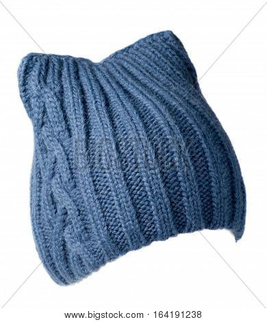 Women's Hat . Knitted Hat Isolated On White Background.blue Hat .