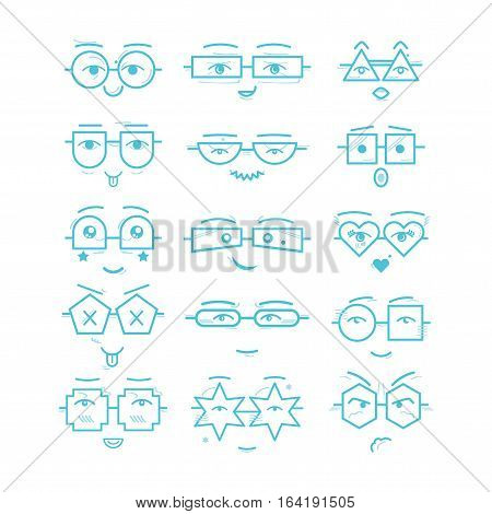 Cute blue emoticons faces with different geometrical shapes eyeglasses icons set on white background