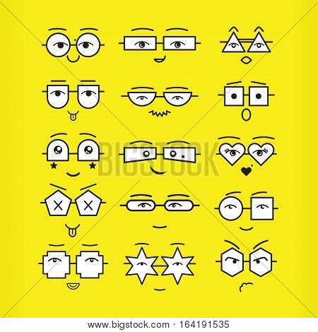 Cute black emoticons faces with different geometrical shapes eyeglasses icons set on yellow background