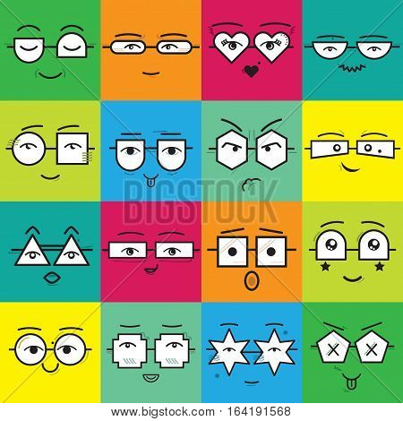 Cute colorful square stickers emoticons faces with different geometrical shapes eyeglasses icons set on color background