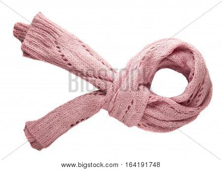 Scarf Isolated On White Background.scarf  Top View .pink Scarf .