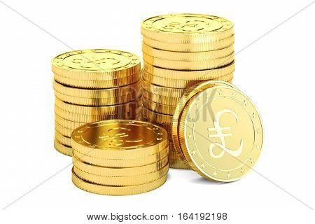 Gold pound sterling coins 3D rendering isolated on white background