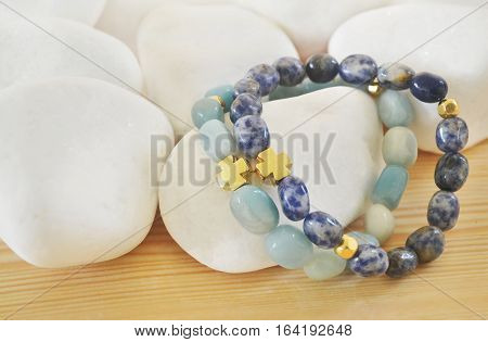 Sodalite and Amazonite gemstone bracelets with cross
