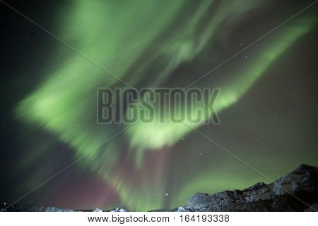 Northern lights dancing over the Icelandic winter sky