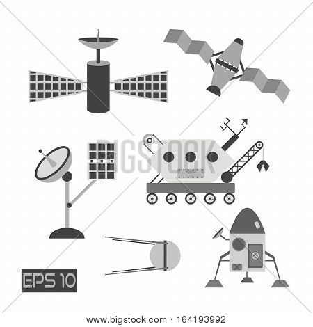 Isolated grayscale space cosmos elements. Shuttle rocket satellites antenna and moonwalker. Made in flat style.