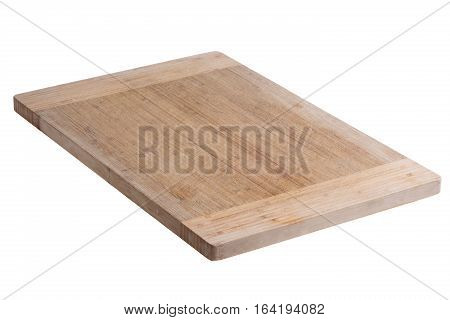 Single used bamboo wood cutting board for chopping vegetables and meat on white background