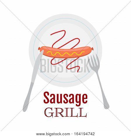 Grilled sausage on plate with ketchup, mustard, knife and fork. Logo, label for street cafe, restaurant. Flat vector illustration.